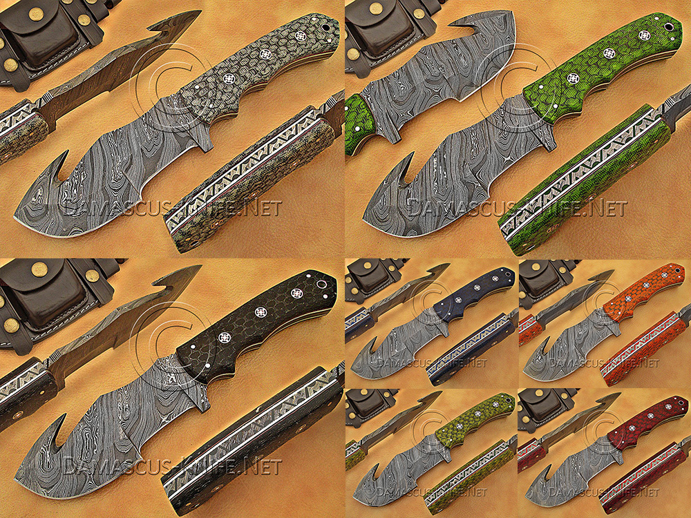 7 Gut Hook Full Tang Handmade Damascus Steel Tracker Knives DTK1011