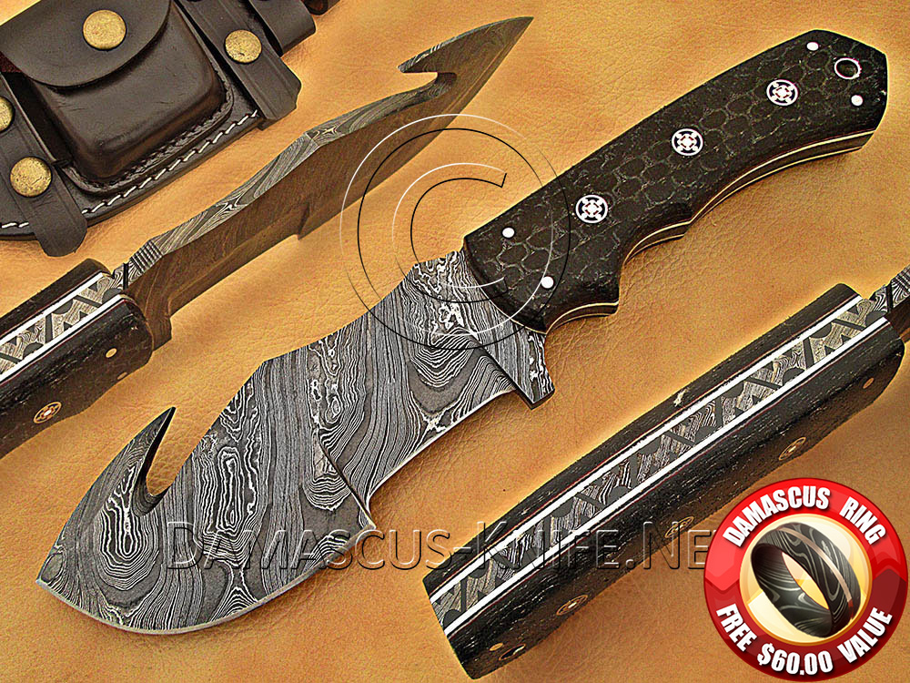 Gut Hook Full Tang Handmade Damascus Steel Tracker Knife DTK1014