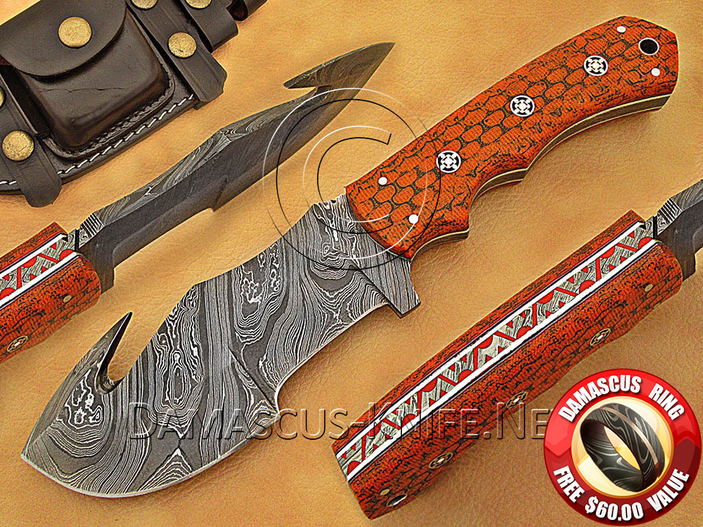 Gut Hook Full Tang Handmade Damascus Steel Tracker Knife DTK1018