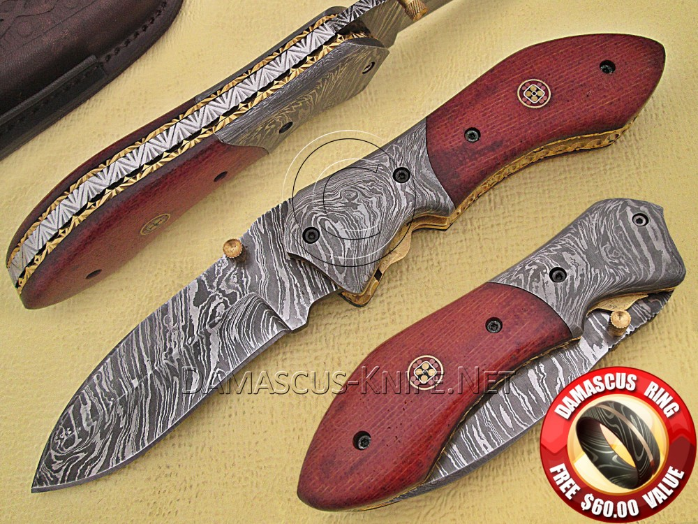 Handmade Damascus Steel Collectible Pocket Knife G10 Handle DPK760