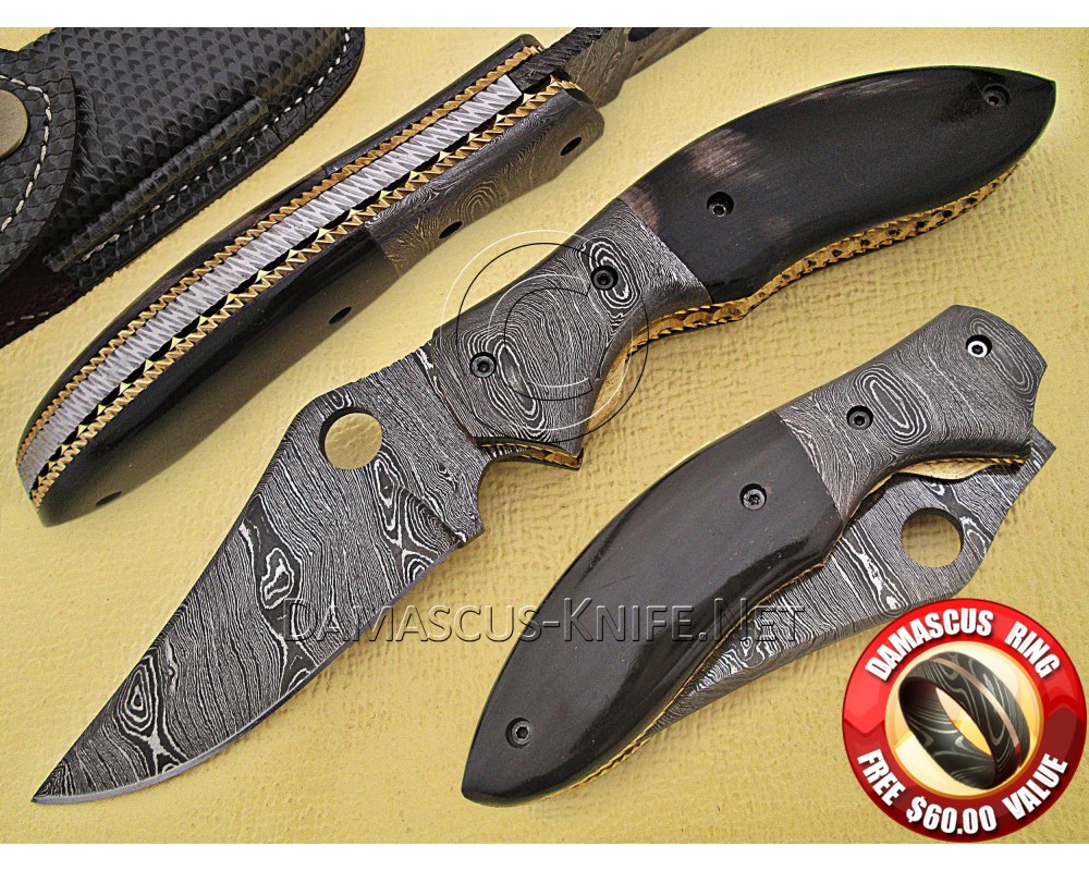 Handmade Damascus Steel Collectible Folding Knife Horn Handle DFK762