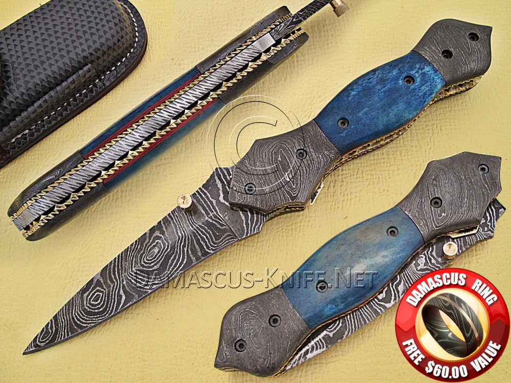 Handmade Damascus Steel Collectible Pocket Knife Bone Handle (ARS-764)