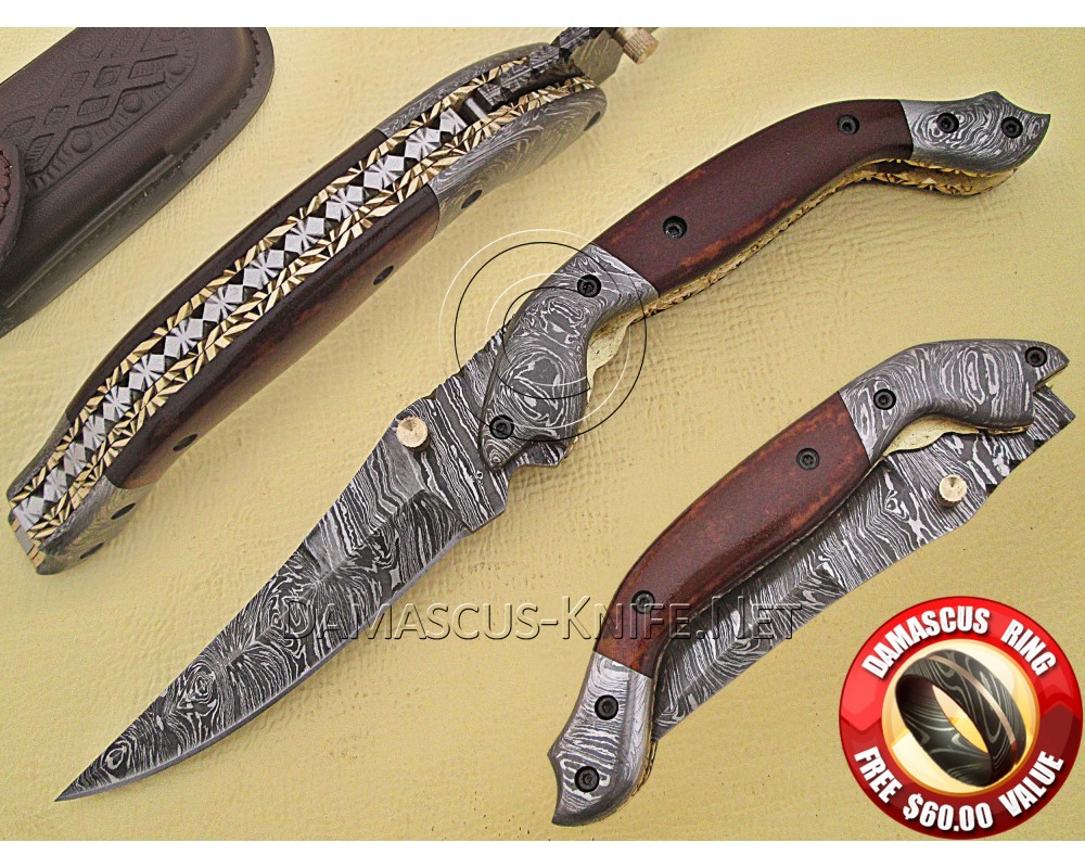 Handmade Damascus Steel Collectible Folding Knife DFK766