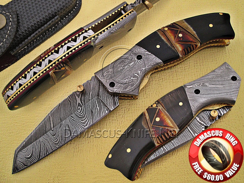 Handmade Damascus Steel Collectible Pocket Knife Horn Handle DPK769