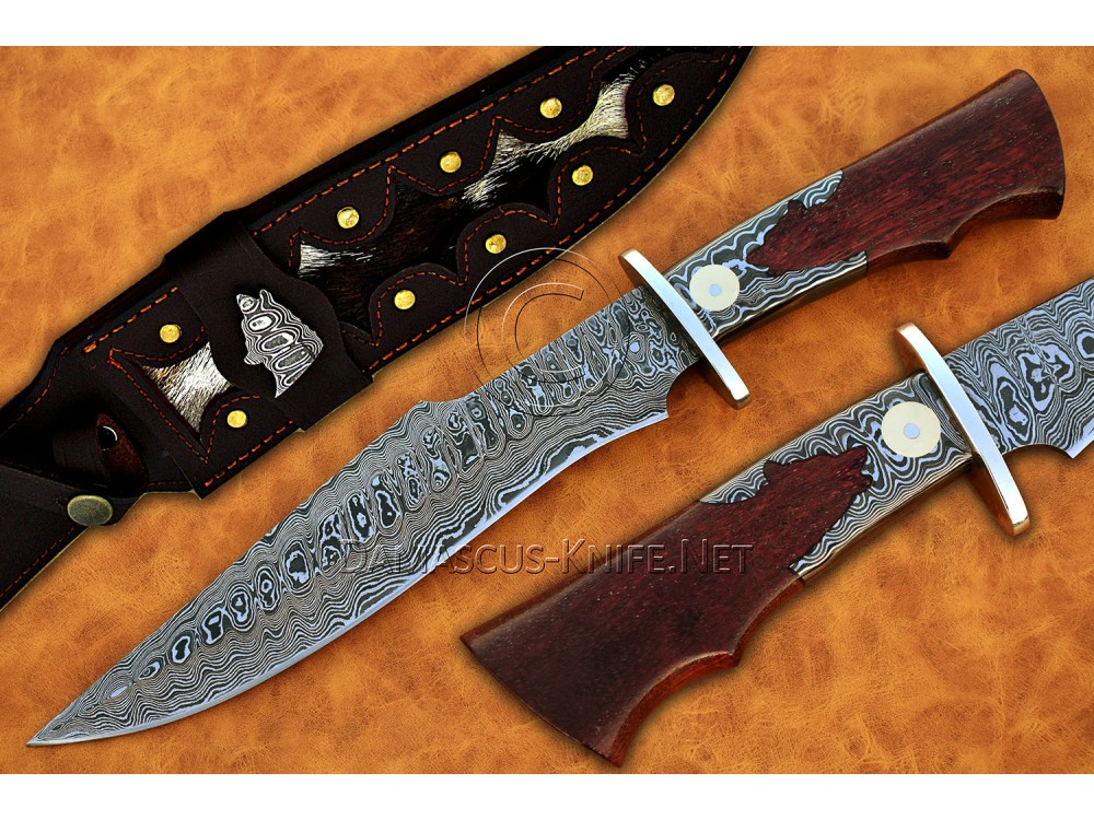 Handmade Damascus Steel Wolf Hunting Knife Ironwood Handle DHK881