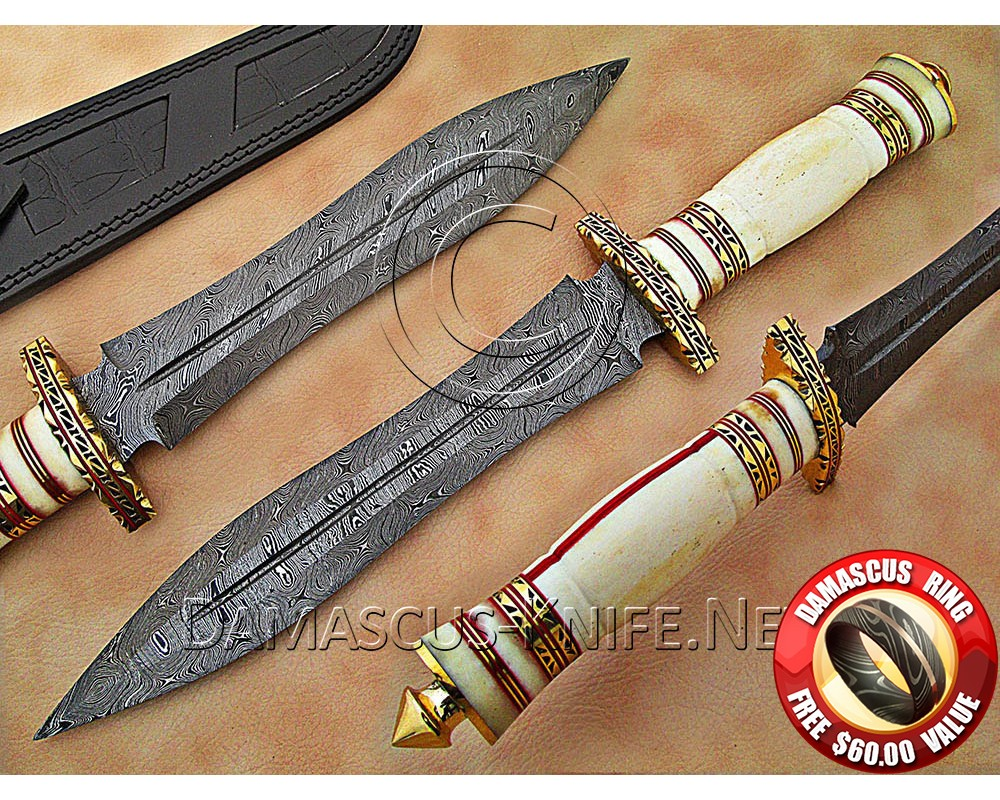 Handmade Damascus Steel Collectible Hunting Knife Bone Handle DHK890