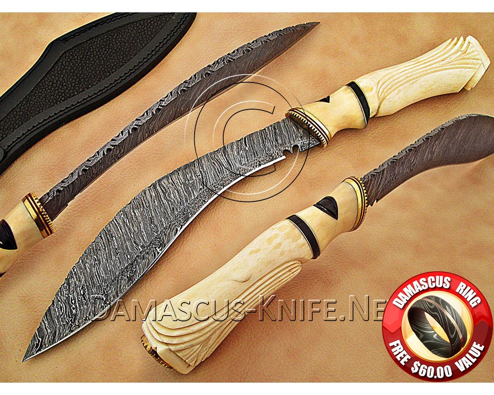 Handmade Damascus Steel Collectible Kukri Knife Bone Handle DHK900