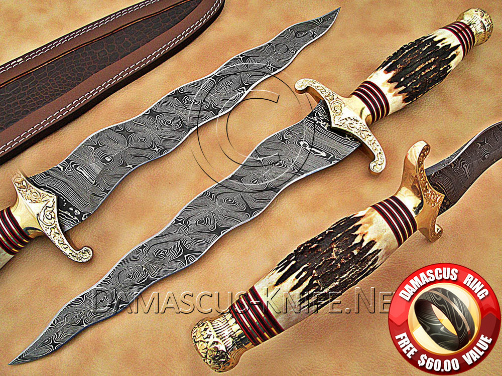 Handmade Damascus Steel Collectible Kris Dagger Knife Stag Handle
