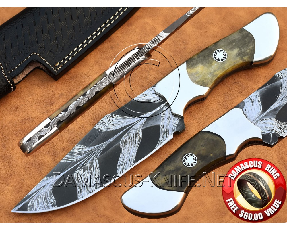 Custom Handmade Damascus Steel Skinner Hunting Knife DHK998